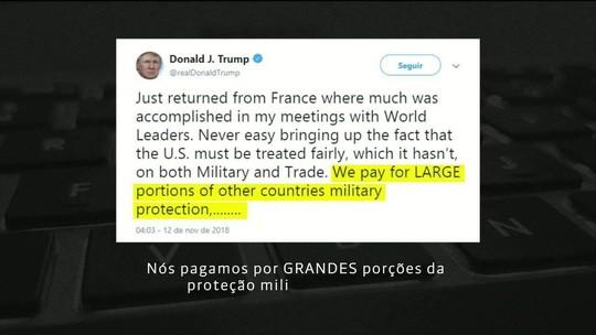 Trump repete que Estados Unidos pagam mais por proteção de países