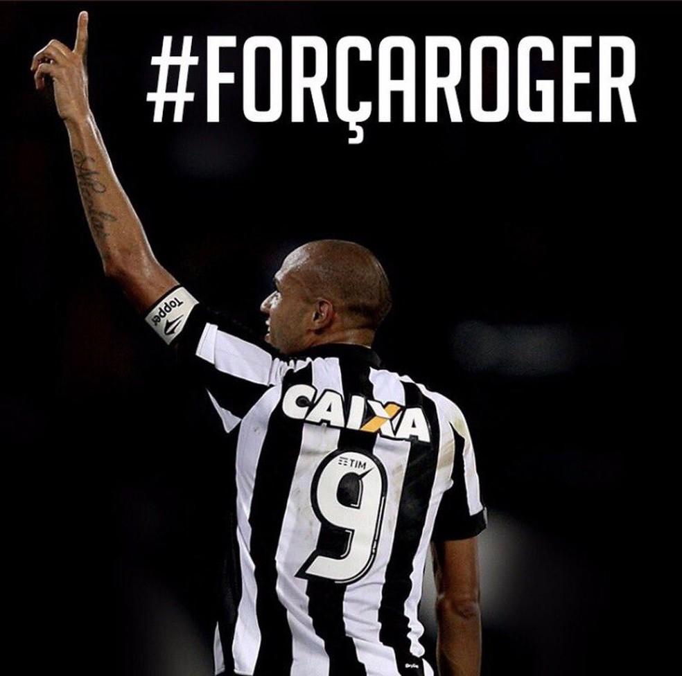 Botafogo lançou hashtag #forçaRoger para apoiar o atacante (Foto: Reprodução/Twitter)