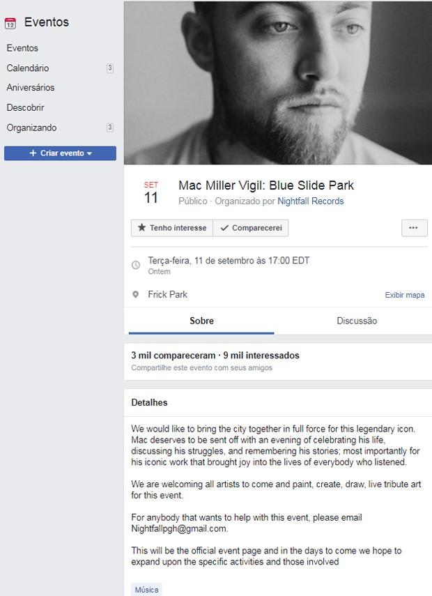 Vigília artística de mac Miller foi organizada na web (Foto: Reprodução/Facebook)