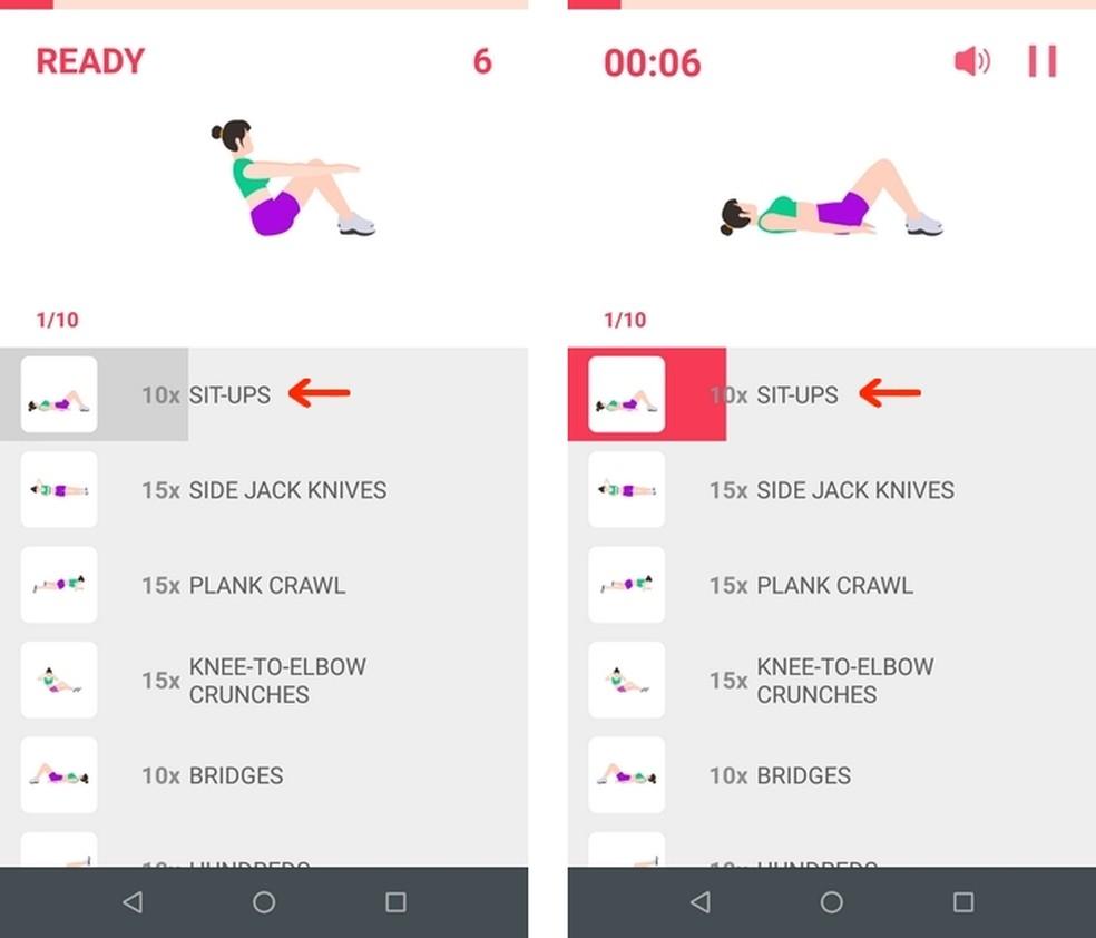 Lista de exercícios abdominais do plano iniciante do Lose Belly Fat — Foto: Reprodução/Raquel Freire
