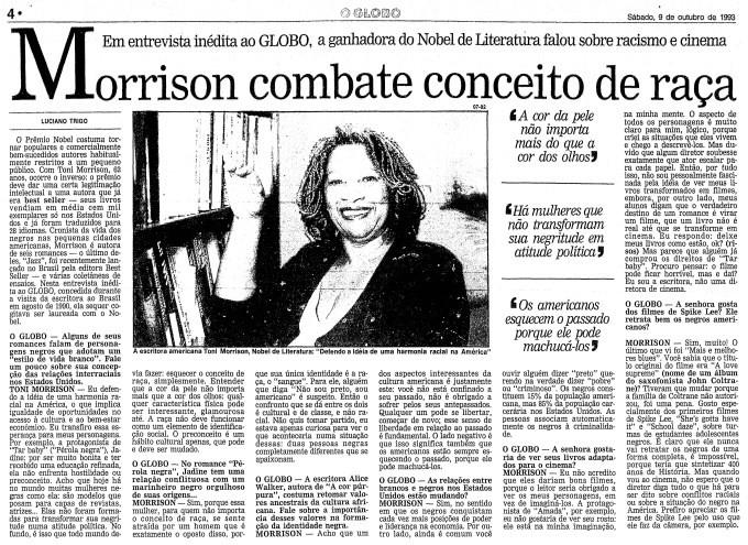 Entrevista de Toni Morisson na página do GLOBO, edição de 9 de outubro de 1993