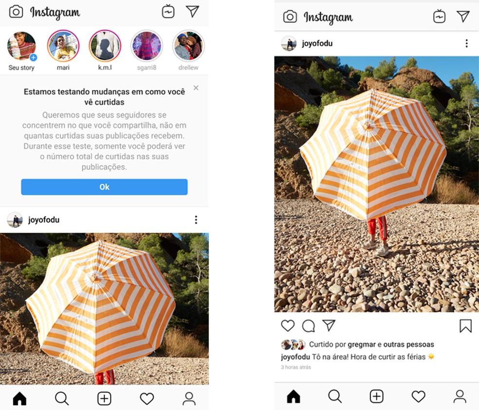 Instagram mudou e acaba com likes no feed em função experimental — Foto: Divulgação/Instagram