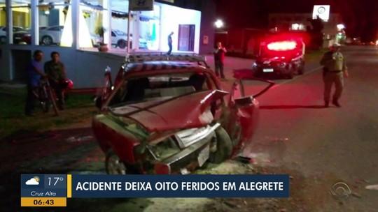 Acidente envolvendo dois carros deixa oito feridos em Alegrete