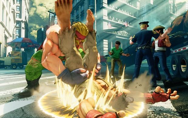 Ryu foi usado de saco de pancada nas primeiras imagens de Alex, novo personagem de 'Street Fighter V' (Foto: Divulgação/Capcom)