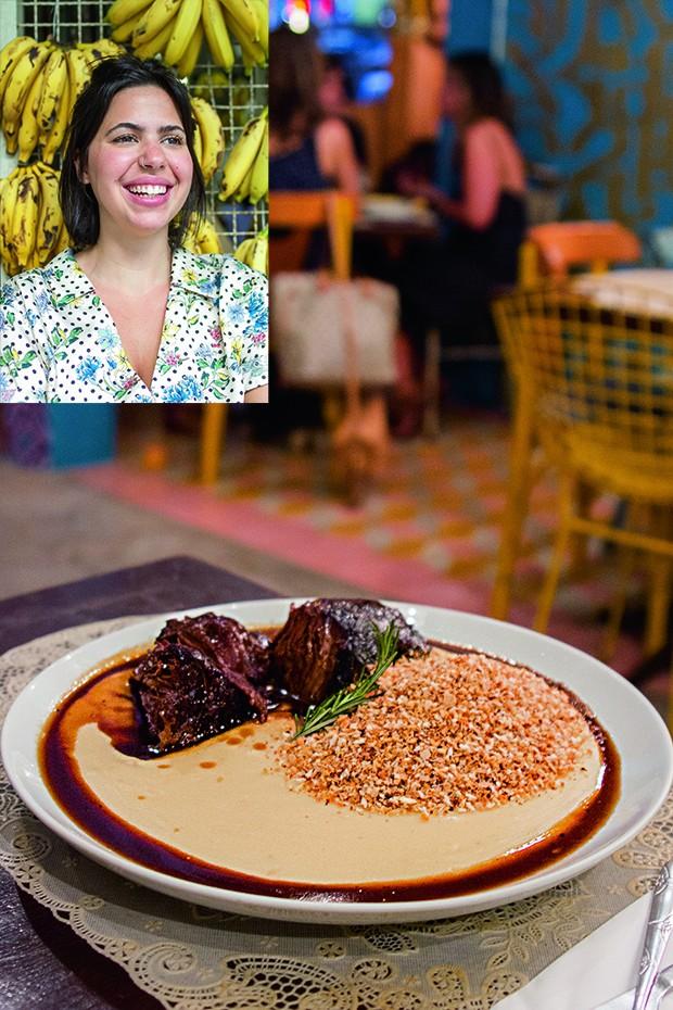 Lifestyle gastronomia - A chef Bruna Martins, do Birosca S2, e seu cupim com purê de três batatas e farofa da casa (Foto: Camila Picolo)