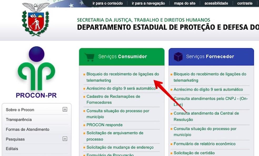 Site do Procon do Paraná — Foto: Reprodução/Helito Beggiora
