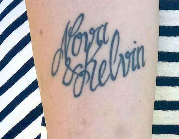 O nome da criança foi soletrado incorretamente na tatuagem (Foto: Arquivo Pessoal)