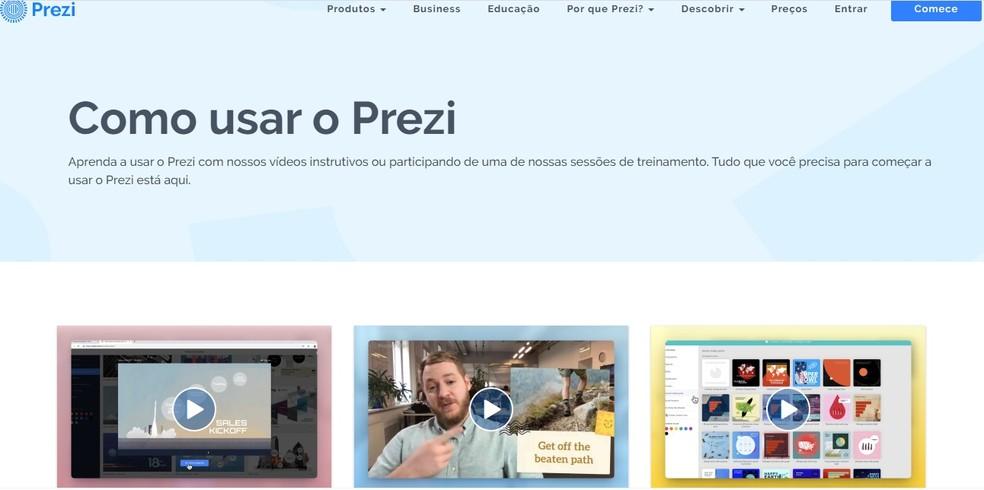 Prezi permite a criação de slides interessantes — Foto: Reprodução/Carol Fernandes