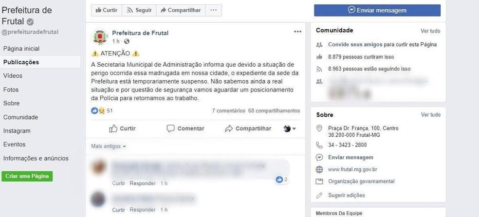 Prefeitura de Frutal divulga pelo Facebook que não haverá expediente e aula devido ao crime na cidade — Foto: Reprodução/Facebook