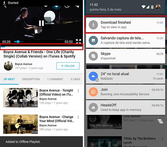 Vimeo para Android mostra quando download de vídeo está finalizado (Foto: Reprodução/Elson de Souza)