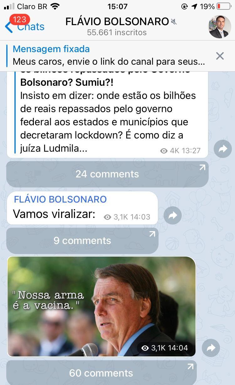 Flávio pede para seguidores viralizarem imagem de Jair Bolsonaro defendendo a vacina