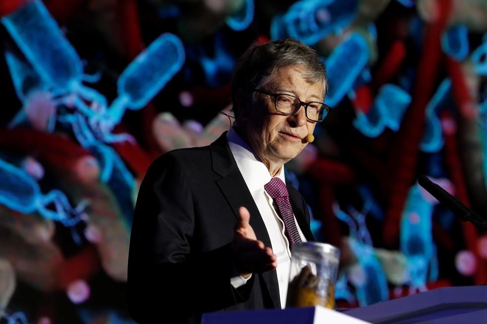 Fundador da Microsoft Bill Gates durante evento de tecnologia em Pequim, na China, em 2018 — Foto: Thomas Peter/Reuters