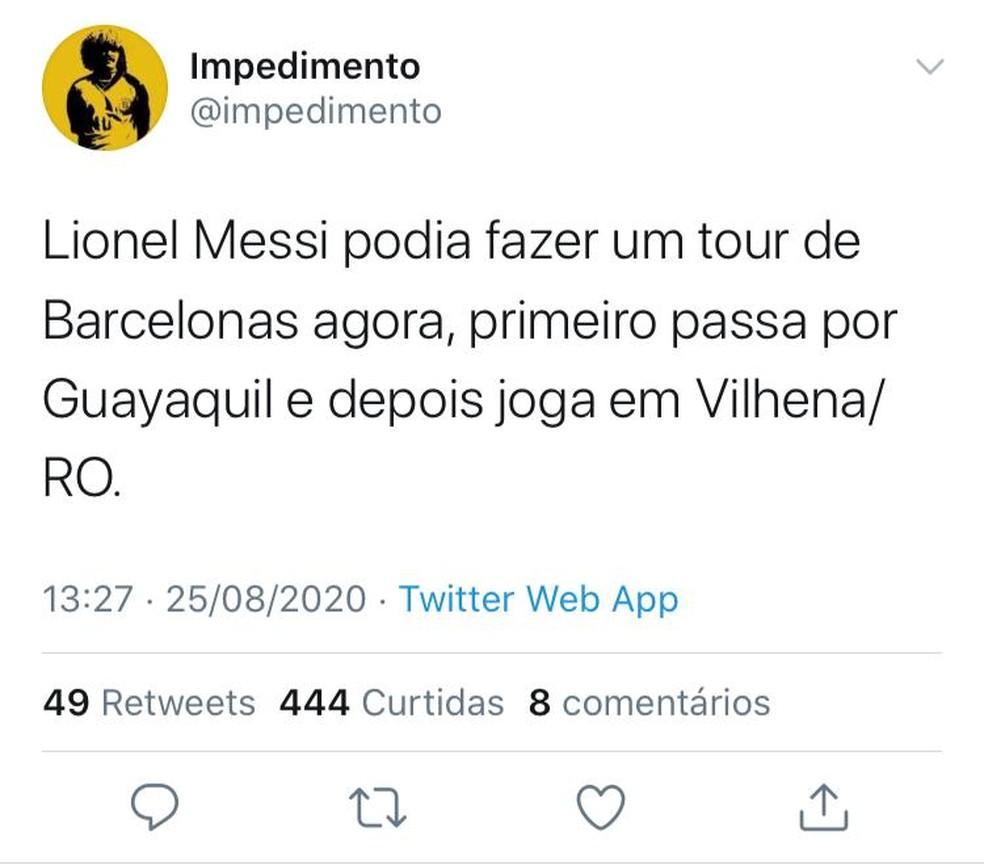 Internautas pedem que Messi atue no Barcelona de Rondônia — Foto: Redes Sociais