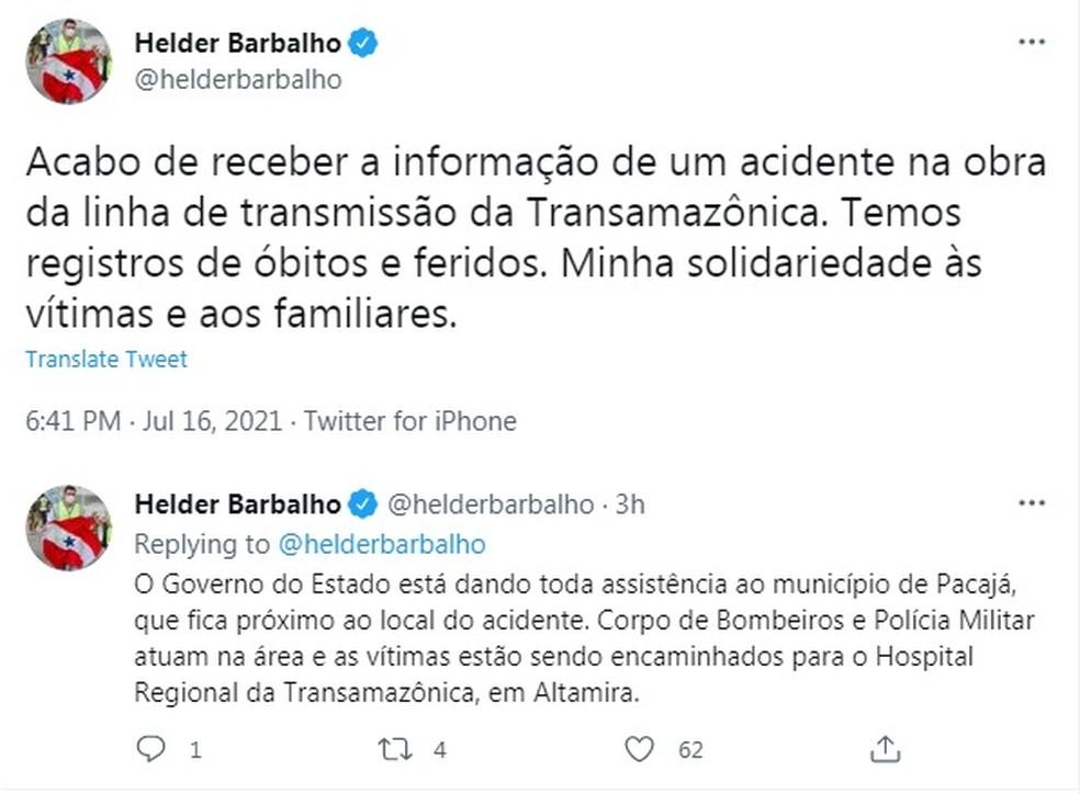 Helder Barbalho lamenta queda de torre de transmissão no Pará. — Foto: Reprodução / Twitter