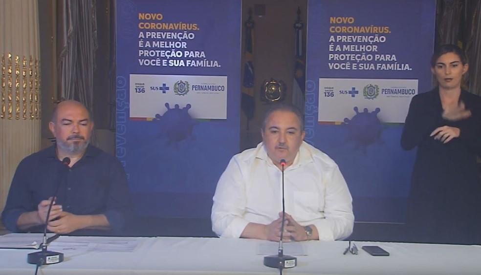 Secretários de saúde do Recife e de Pernambuco falam sobre medidas para enfrentar coronavírus — Foto: Governo de Pernambuco/Divulgação