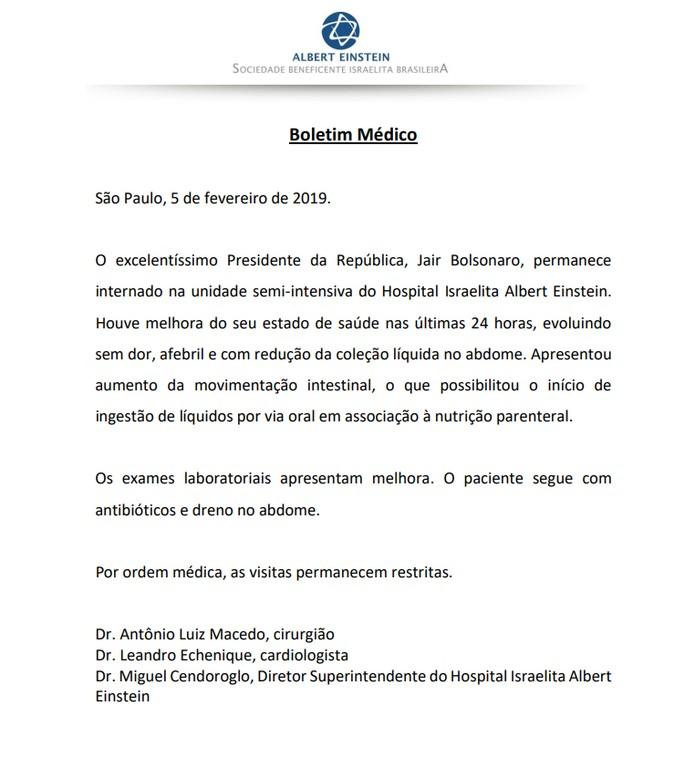 Boletim médico de Jair Bolsonaro de 5 de fevereiro de 2019 — Foto: Divulgação/ Hospital Albert Einstein