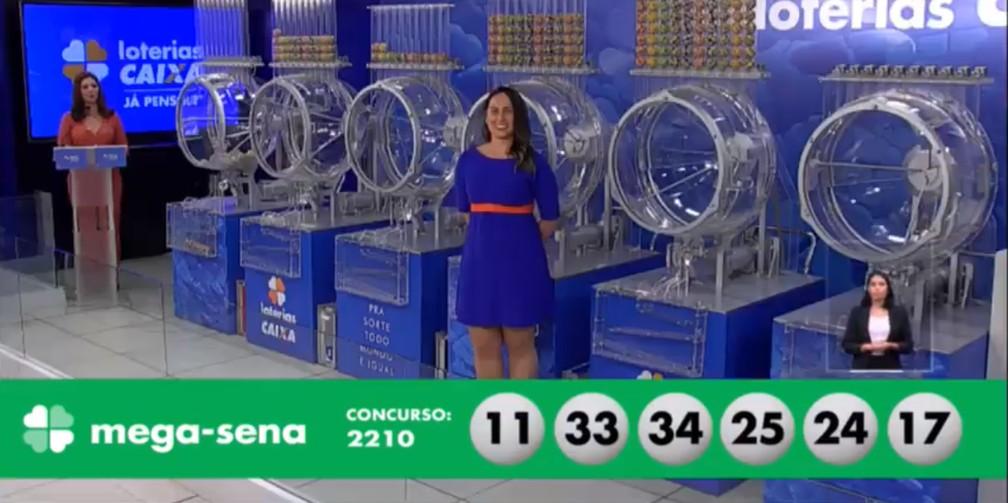 Mega-Sena, concurso 2.210: veja as dezenas sorteadas — Foto: Reprodução/Caixa/Youtube
