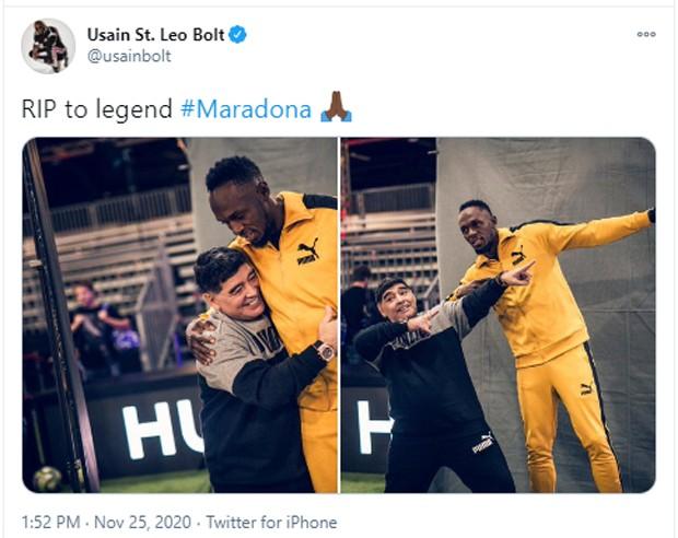 Usain Bolt e Maradona (Foto: Reprodução/Twitter)