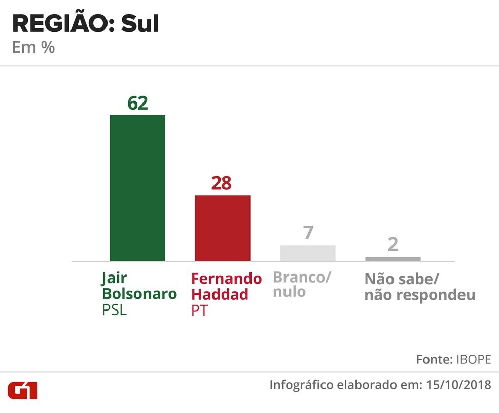 Pesquisa Ibope - 15 de outubro - intenção de voto por segmentos - região: Sul — Foto: Arte/G1