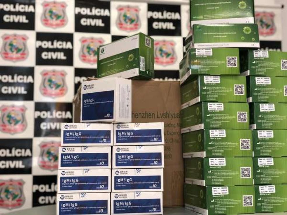 Caixas de testes de Covid-19 apreendidas  — Foto: Divulgação/SSPDS