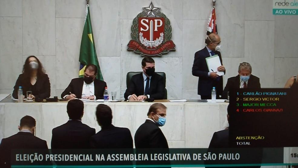Votação para novo presidente da Alesp nesta segunda — Foto: Reprodução