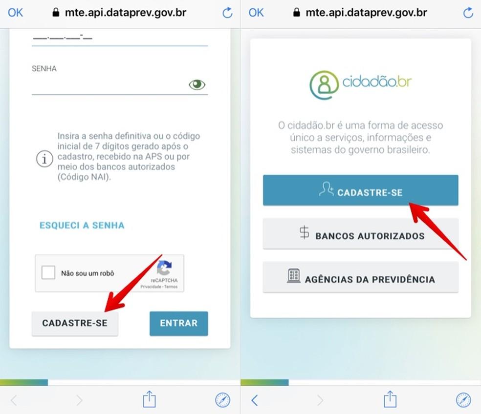 Faça login na sua conta ou cadastre-se no app CTPS Digital — Foto: Reprodução/Helito Beggiora