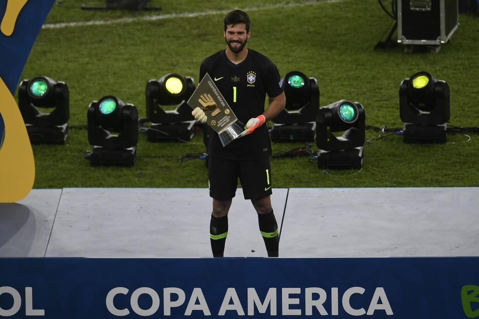 Alisson foi eleito o melhor goleiro da Copa América — Foto: Mauro Pimentel/AFP