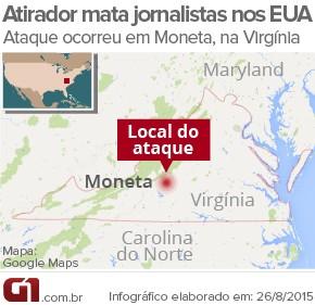 MAPA: atirador mata jornalistas em Moneta, nos EUA (Foto: Arte/G1)