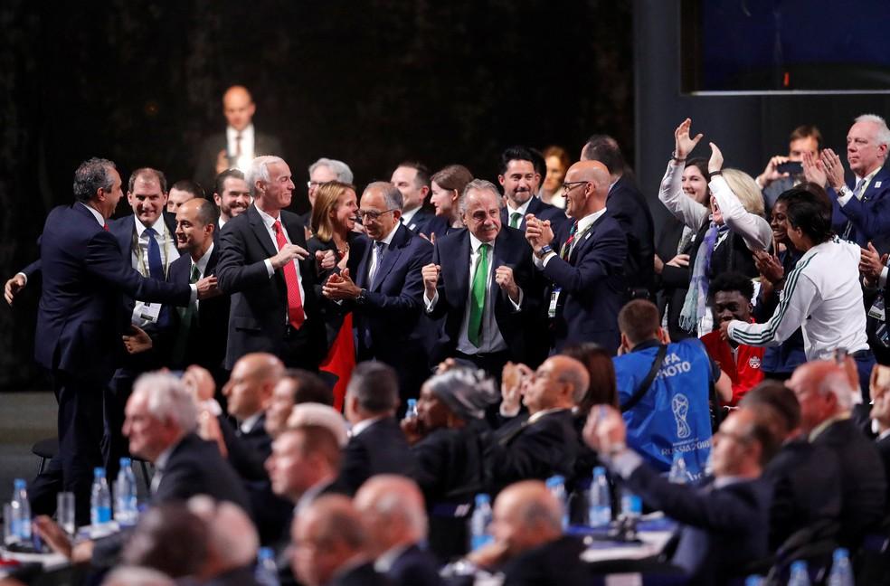 Comemoração da candidatura de EUA, Canadá e México para a Copa de 2026 (Foto: REUTERS/Sergei Karpukhin)