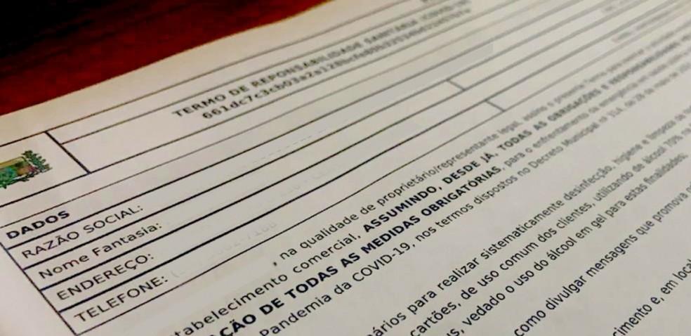 Termo Sanitário é disponibilizado a comerciantes em Araxá — Foto: Prefeitura de Araxá/Divulgação