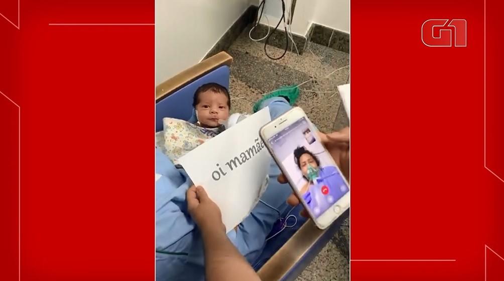 Após parto de emergência, paciente com Covid-19 se emociona ao conhecer filho em videochamada