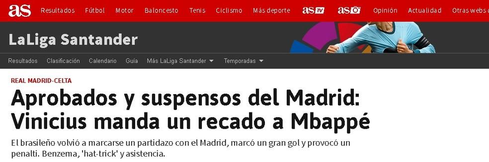 """Diario """"As"""" elogia Vinicius Junior e diz que ele """"mandou um recado para Mbappé"""" — Foto: Reprodução/As"""
