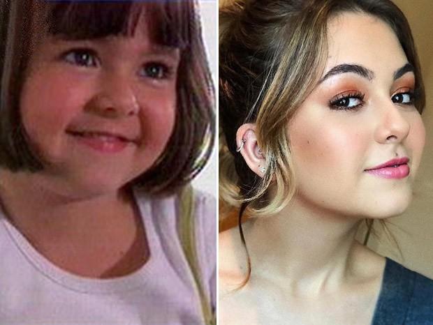 Klara Castanho em seu primeiro trabalho na TV e em foto recente. Como cresceu essa menina! (Foto: Reprodução/GNT e Reprodução/Instagram)