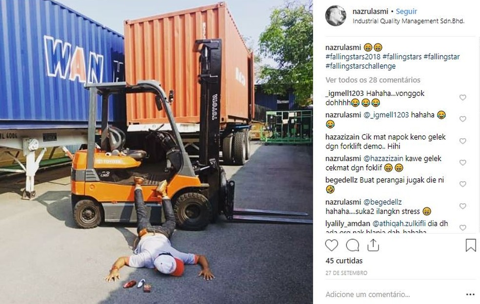 Na Malásia, a brincadeira ganhou novo tom — Foto: Reprodução/Instagram (nasrulazmi)