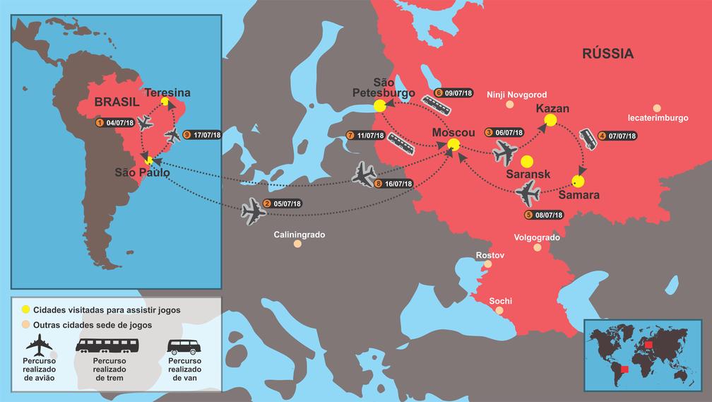 Mapa: por onde o grupo de amigos vai passar (Foto: Adelmo Paixão)