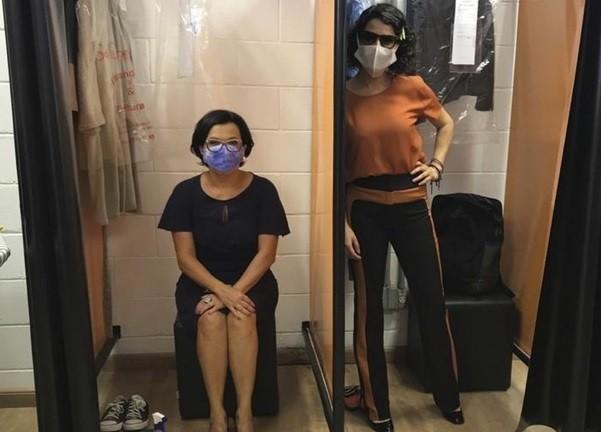 Marcella Muniz e Manuela do Monte nos camarins individuais de 'Amor sem igual' (Foto: Arquivo pessoal)