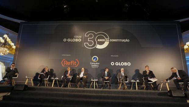 Diego Escosteguy, Milton Souza, Benedito Gonçalves, Luís Felipe Salomão, Luiz Fux, Antonio Saldanha, Cláudio Tavares e Ascânio Seleme (Foto: Marcelo de Jesus)
