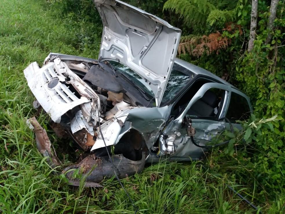 Motorista alcoolizado é preso depois de causar acidente na BR-153, em Mallet — Foto: PRF/ Divulgação