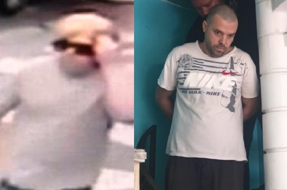 Flávio é preso (à dir.) após matar concorrentes utilizando peruca (esq.) em Santos, SP — Foto: Reprodução