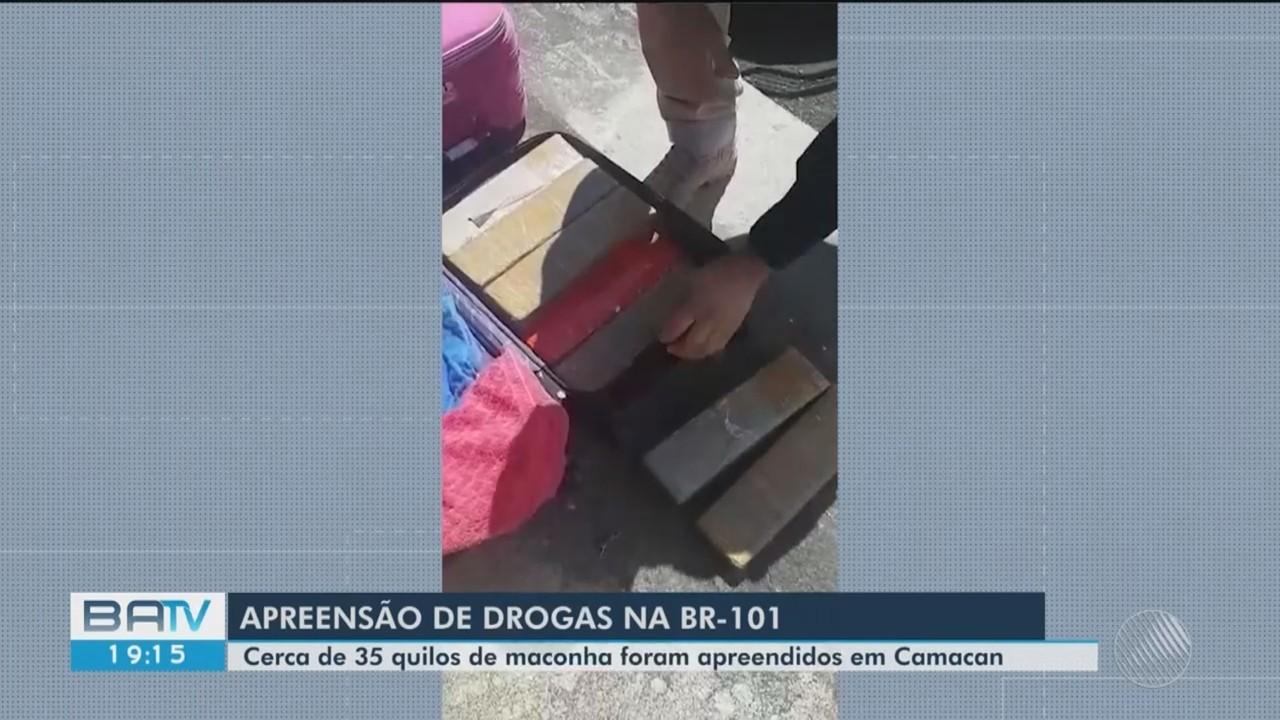 Polícia apreende 35 quilos de maconha em ônibus que vinha do Rio de Janeiro para Itabuna