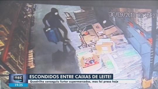 Criminosos se escondem atrás de caixas de leite para furtar supermercado em SC; VÍDEO