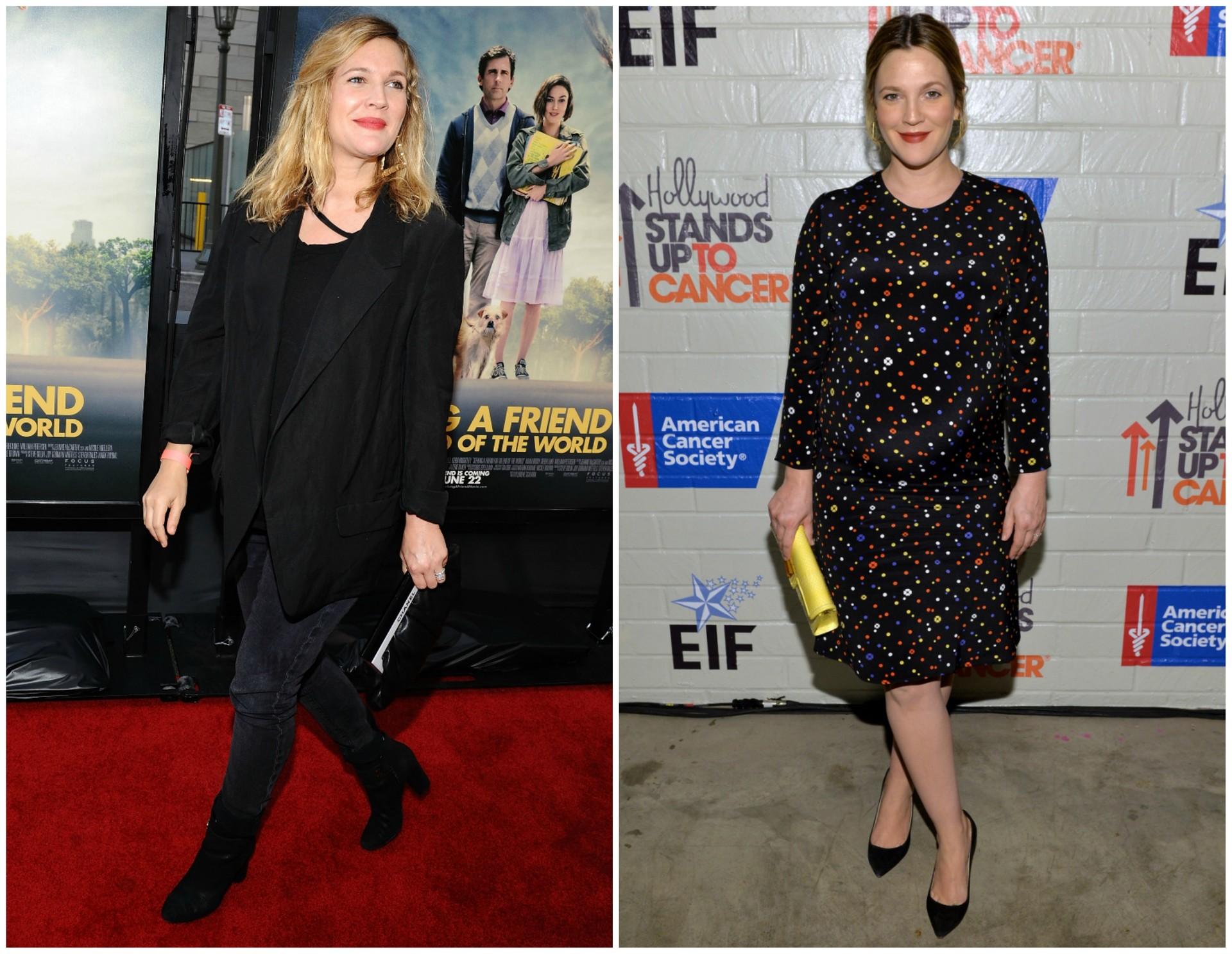 Drew Barrymore em junho de 2012 (à esq.) e em janeiro de 2014. A filha da atriz, Olive, chegou em setembro de 2012. (Foto: Getty Images)