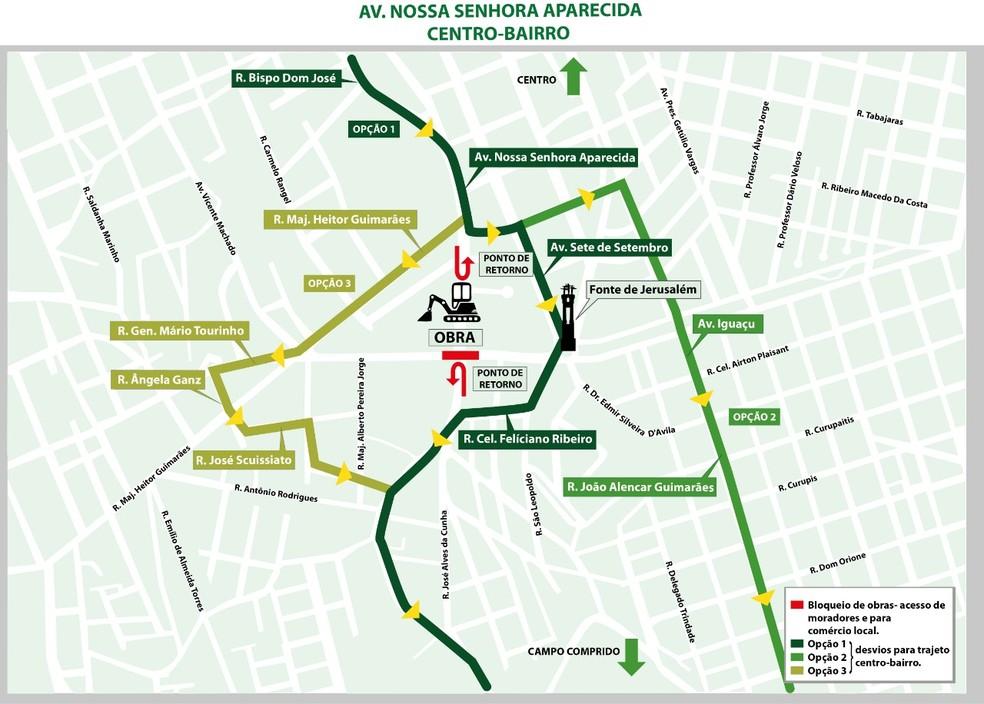Veja no mapa desvios na região onde é contruído o viaduto da Mario Tourinho — Foto: Prefeitura de Curitiba