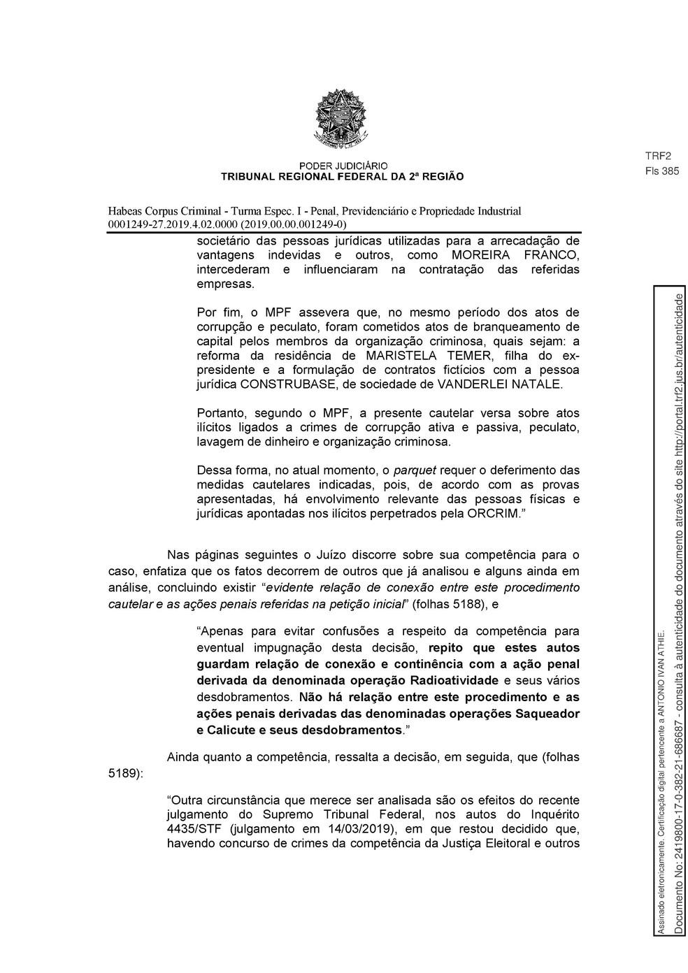 Decisão TRF 2 - pg 4 — Foto: Reprodução