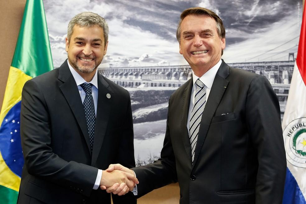 O presidente Jair Bolsonaro durante encontro com o presidente do Paraguai, Mário Abdo Benitez, em fevereiro, no Palácio do Planalto — Foto: Alan Santos/Presidência da República