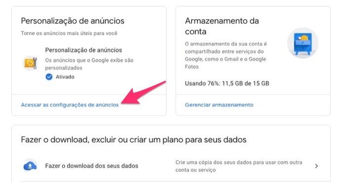 Ação para acessar as configurações para anúncios em uma conta do Google (Foto: Reprodução/Marvin Costa)