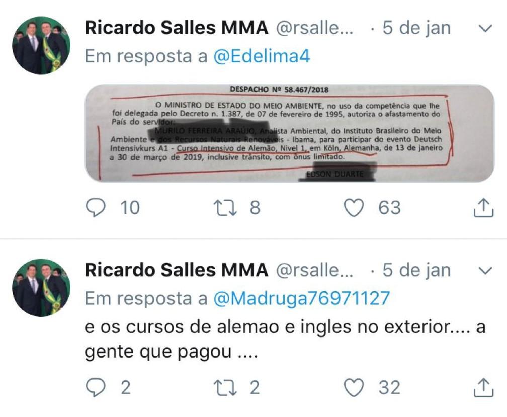 Mensagens postadas no Twitter pelo ministro Ricardo Salles, do Meio Ambiente — Foto: Reprodução / Twitter
