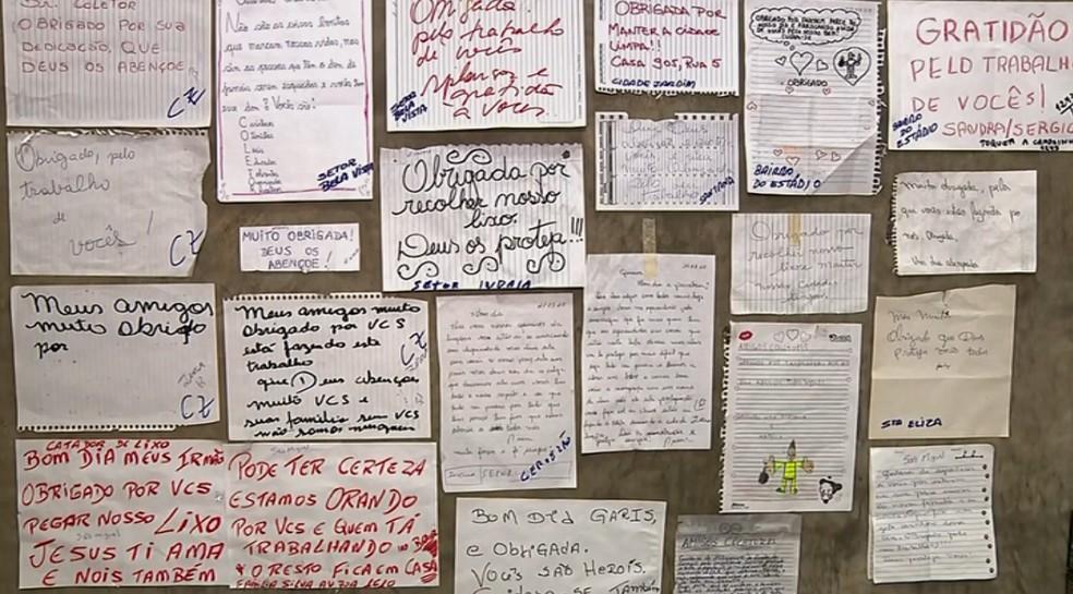 Mural de bilhetes e cartas de agradecimento aos coletores de lixo de Rio Claro.  — Foto: Reprodução EPTV