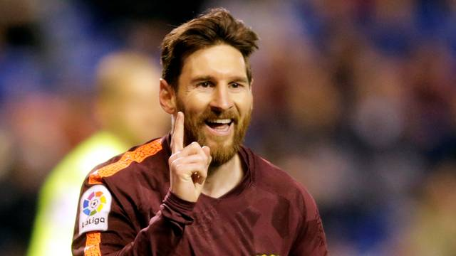 Messi comemora gol sobre o Deportivo La coruña
