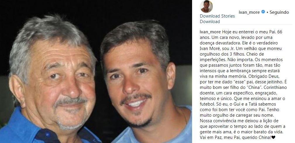 Ivan Moré homenageia o pai no Instagram (Foto: Reprodução/Instagram)